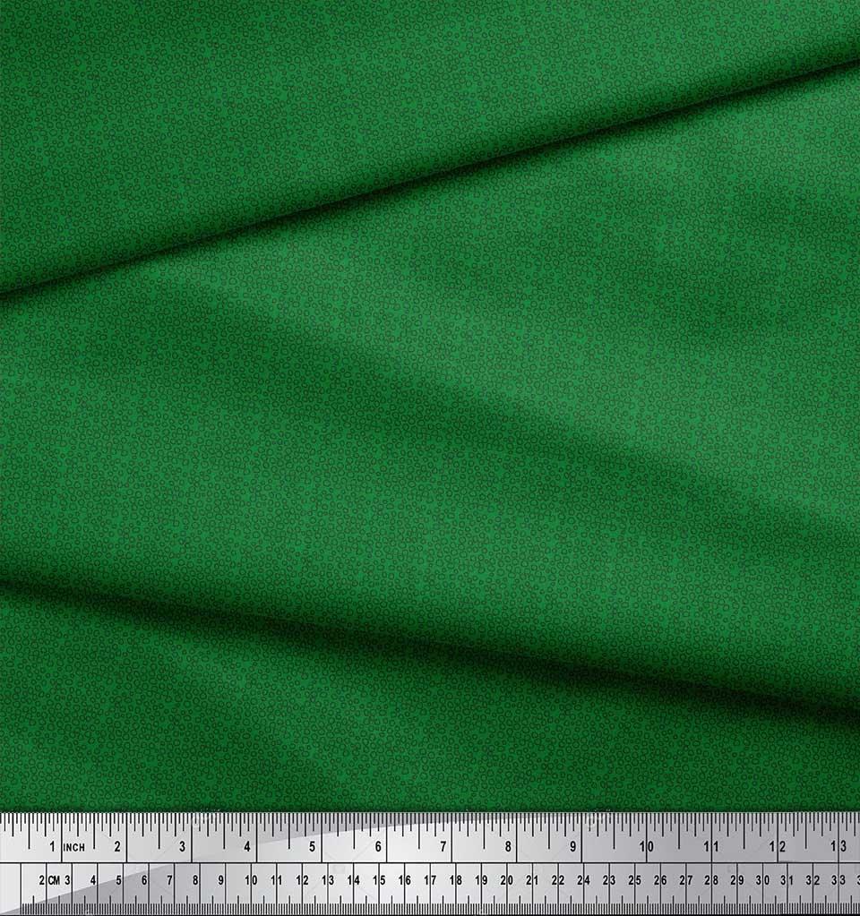 Soimoi-Green-Cotton-Poplin-Fabric-Line-amp-Circle-Geometric-Fabric-Ups thumbnail 3