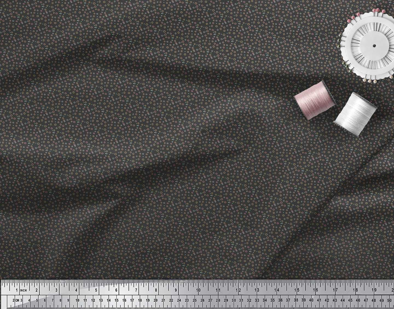 Soimoi-Black-Cotton-Poplin-Fabric-Line-amp-Circle-Geometric-Print-BpE thumbnail 3