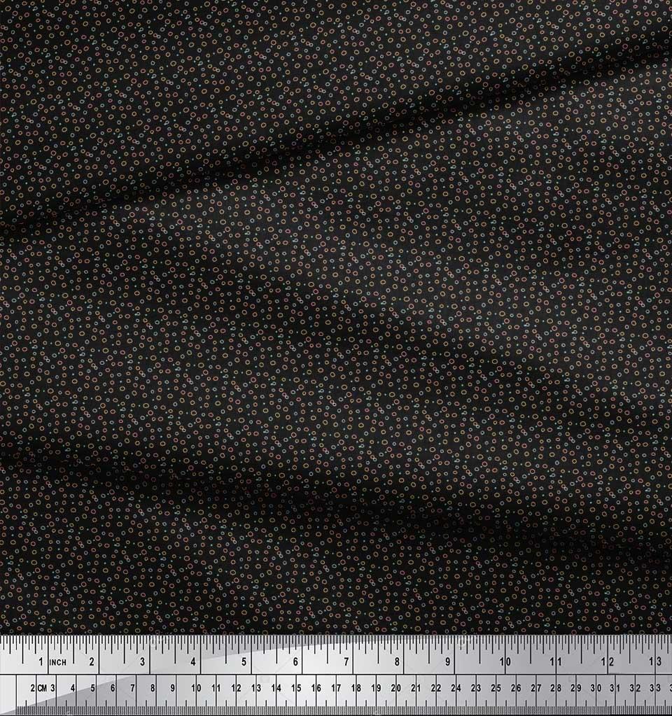 Soimoi-Black-Cotton-Poplin-Fabric-Line-amp-Circle-Geometric-Print-BpE thumbnail 4