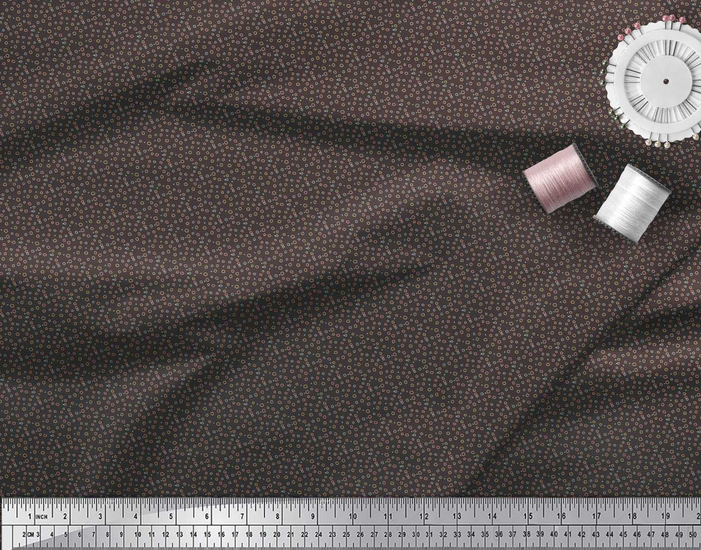 Soimoi-Brown-Cotton-Poplin-Fabric-Line-amp-Circle-Geometric-Print-XYC thumbnail 3