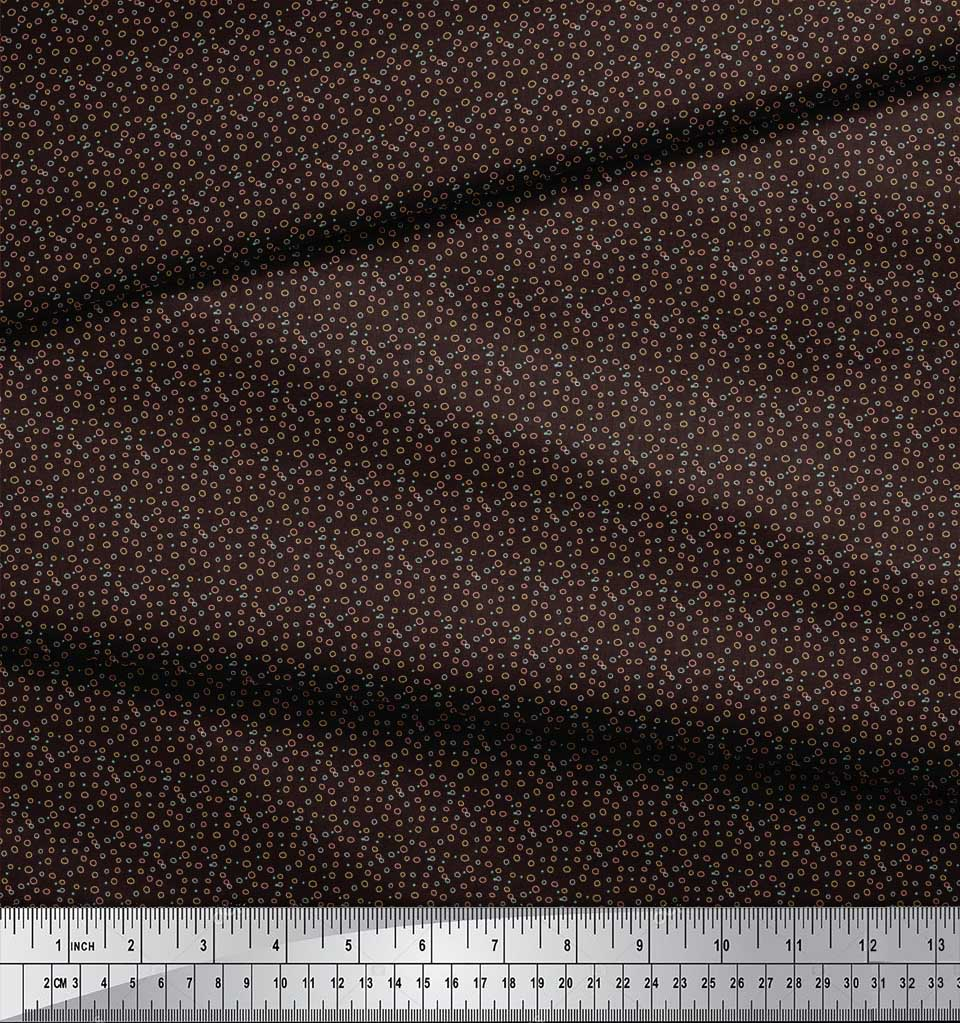 Soimoi-Brown-Cotton-Poplin-Fabric-Line-amp-Circle-Geometric-Print-XYC thumbnail 4