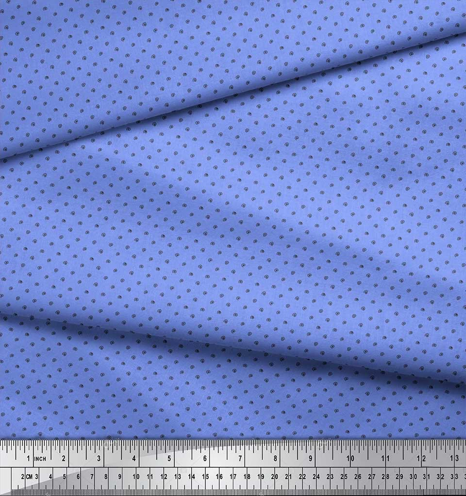 Soimoi-Blue-Cotton-Poplin-Fabric-Spiral-amp-Stripe-Geometric-Decor-mPz thumbnail 3