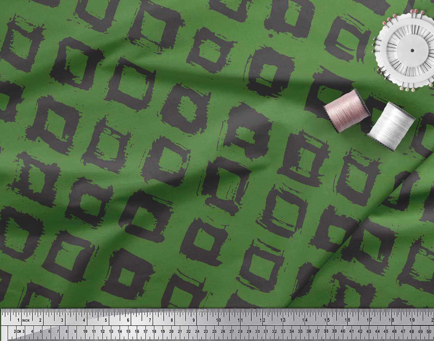 Soimoi-Green-Cotton-Poplin-Fabric-Square-Geometric-Decor-Fabric-wrp thumbnail 3