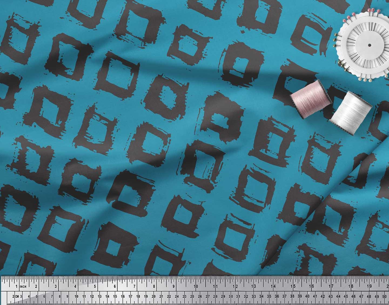 Soimoi-Blue-Cotton-Poplin-Fabric-Square-Geometric-Print-Fabric-by-v1W thumbnail 3