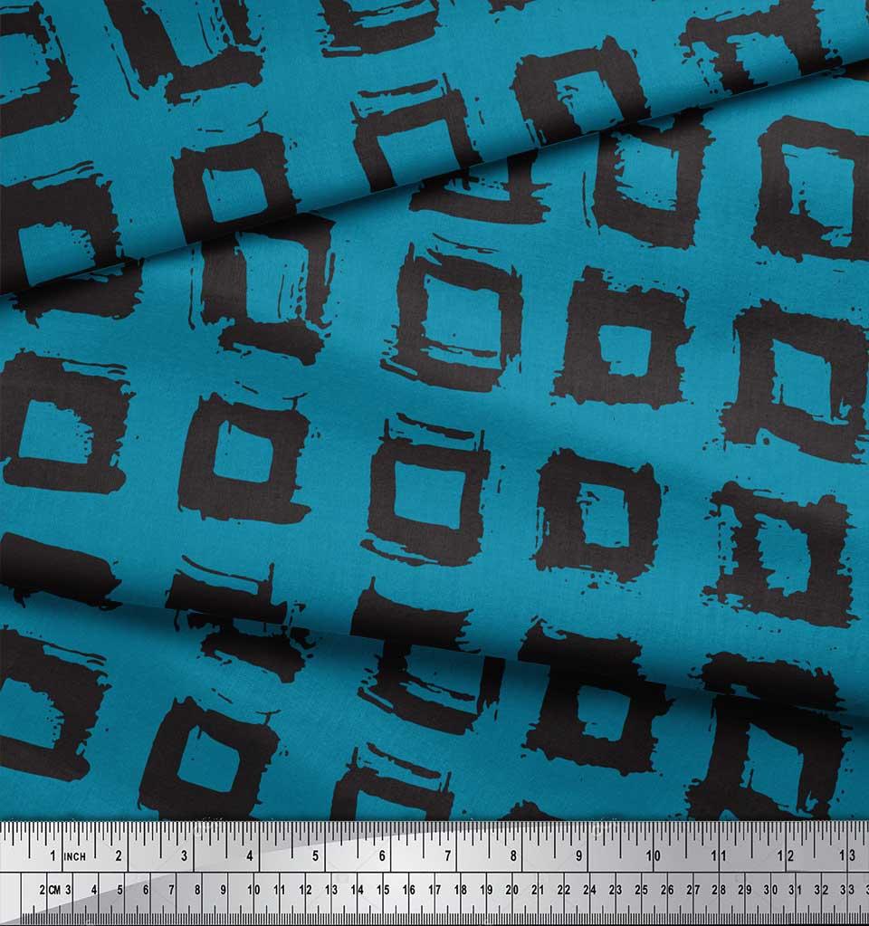 Soimoi-Blue-Cotton-Poplin-Fabric-Square-Geometric-Print-Fabric-by-v1W thumbnail 4