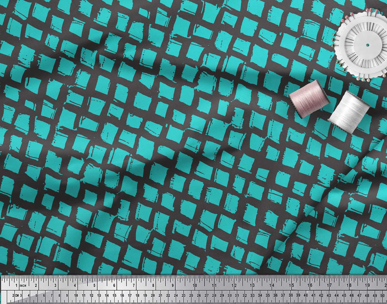 Soimoi-Green-Cotton-Poplin-Fabric-Stripe-amp-Square-Geometric-Print-UaG thumbnail 3