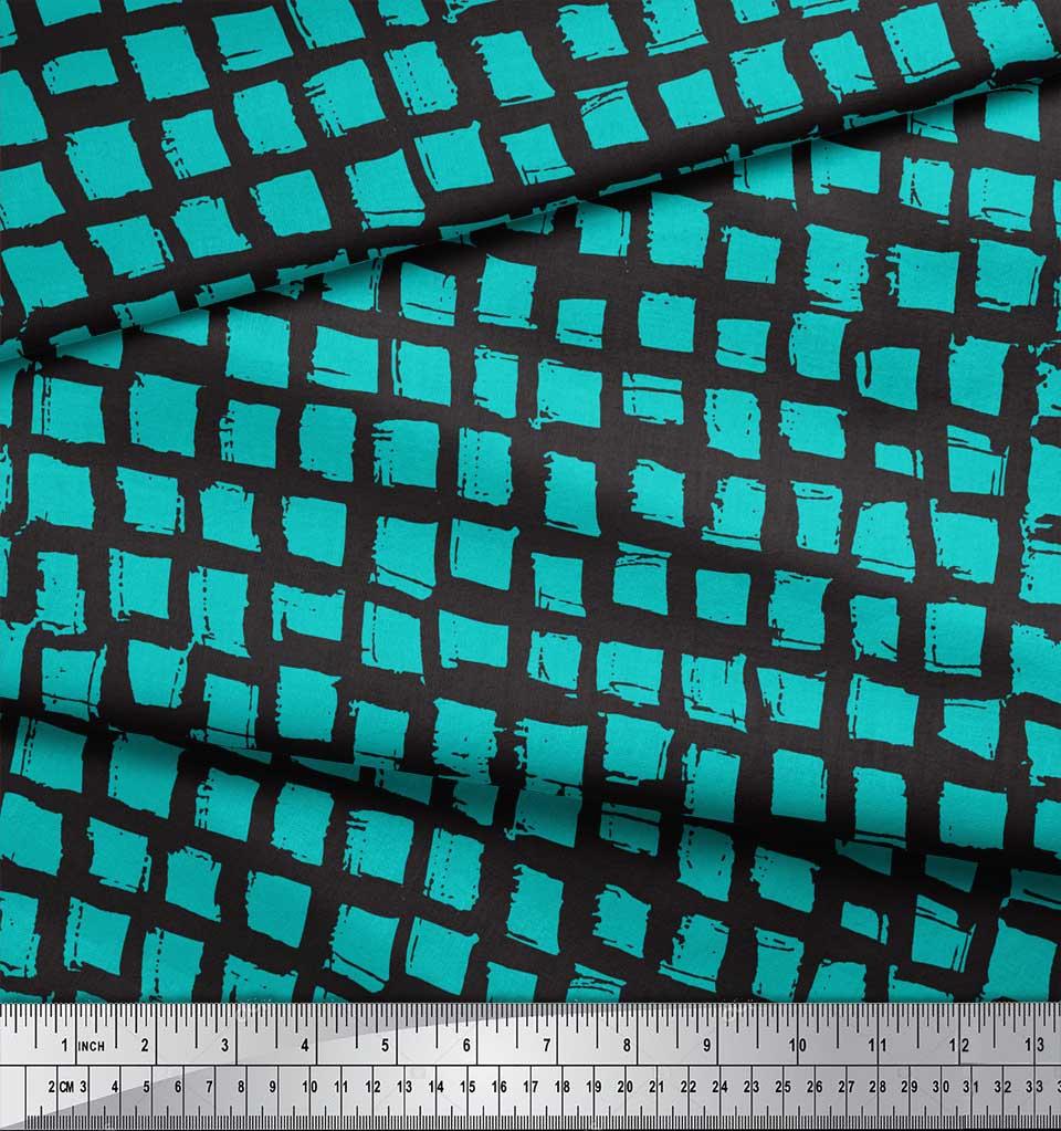 Soimoi-Green-Cotton-Poplin-Fabric-Stripe-amp-Square-Geometric-Print-UaG thumbnail 4
