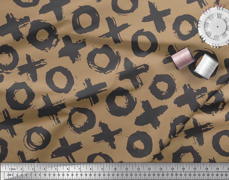 Soimoi-Brown-Cotton-Poplin-Fabric-Circle-amp-Cross-Geometric-Print-TEt thumbnail 3