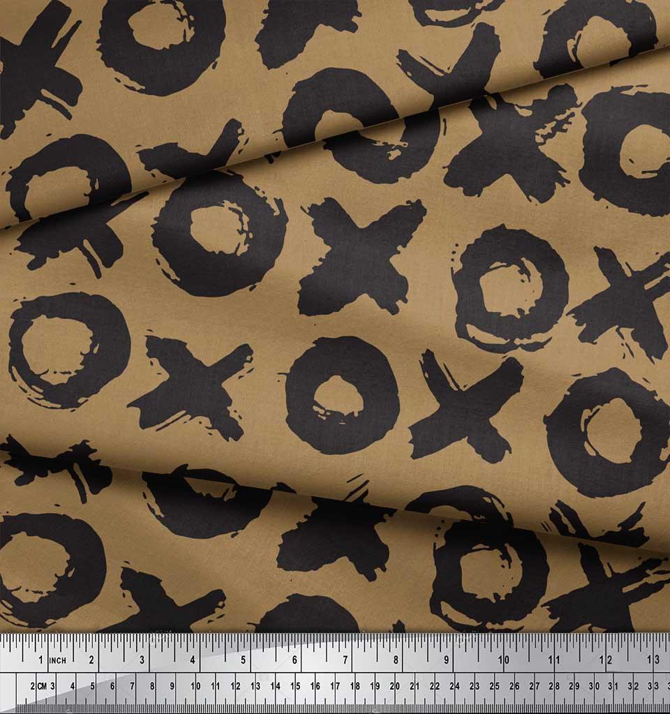 Soimoi-Brown-Cotton-Poplin-Fabric-Circle-amp-Cross-Geometric-Print-TEt thumbnail 4