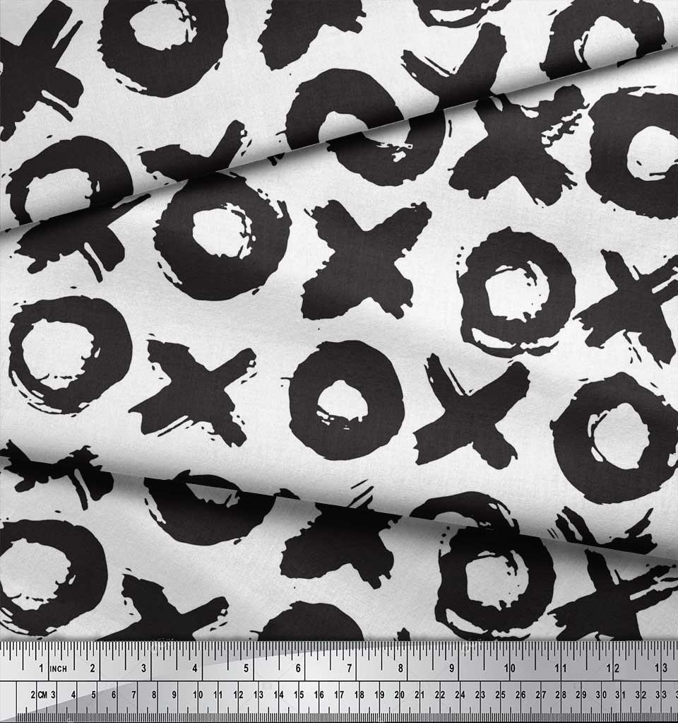 Soimoi-White-Cotton-Poplin-Fabric-Circle-amp-Cross-Geometric-Print-vt4 thumbnail 3