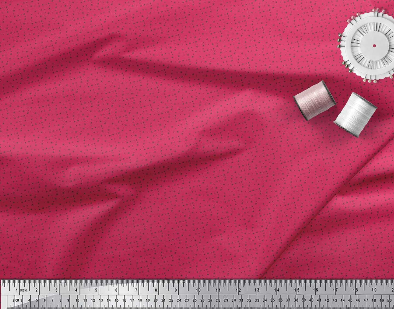 Soimoi-Pink-Cotton-Poplin-Fabric-Circle-amp-Cross-Geometric-Print-1jc thumbnail 3