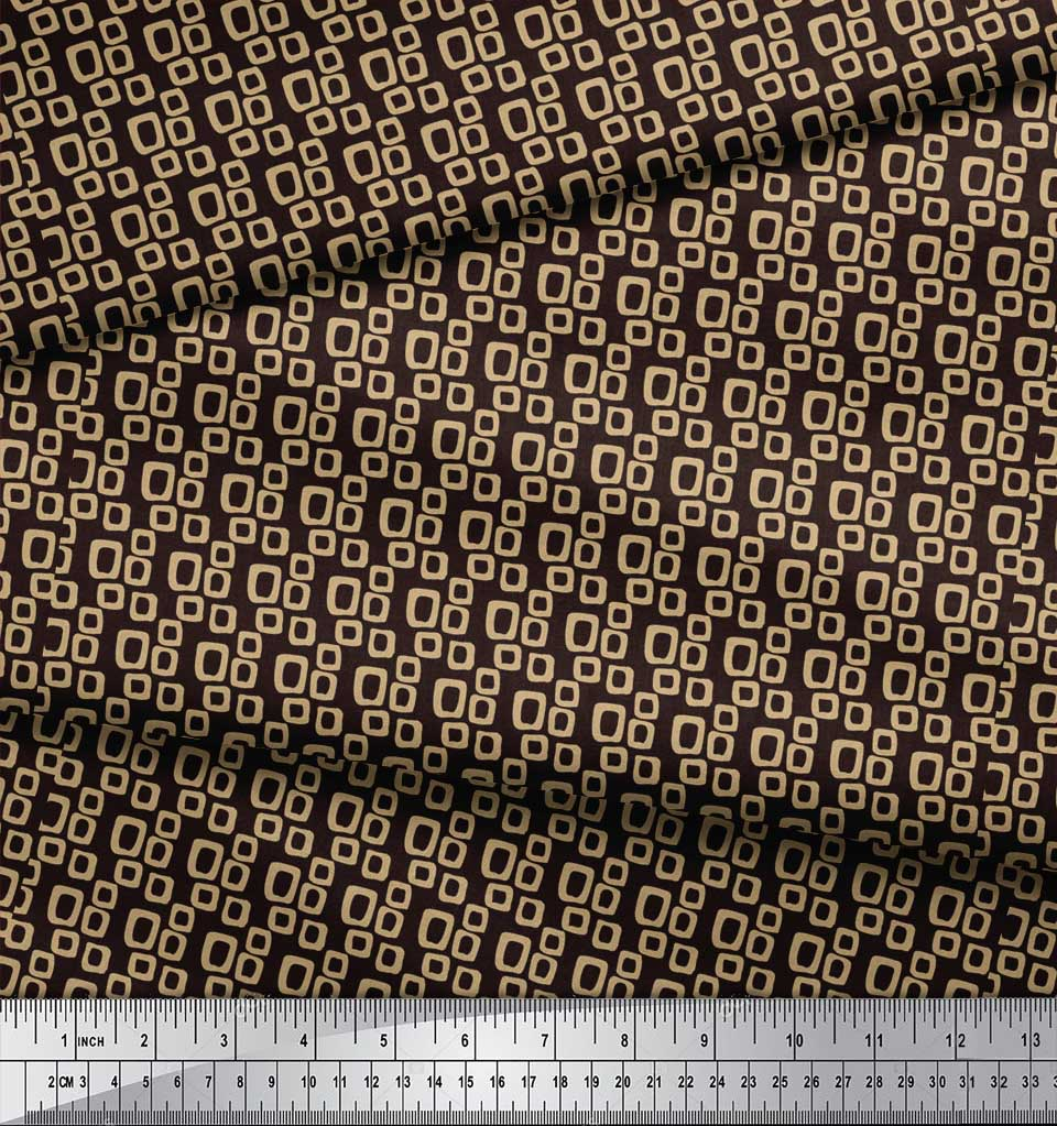 Soimoi-Brown-Cotton-Poplin-Fabric-Square-Geometric-Print-Fabric-MF6 thumbnail 3