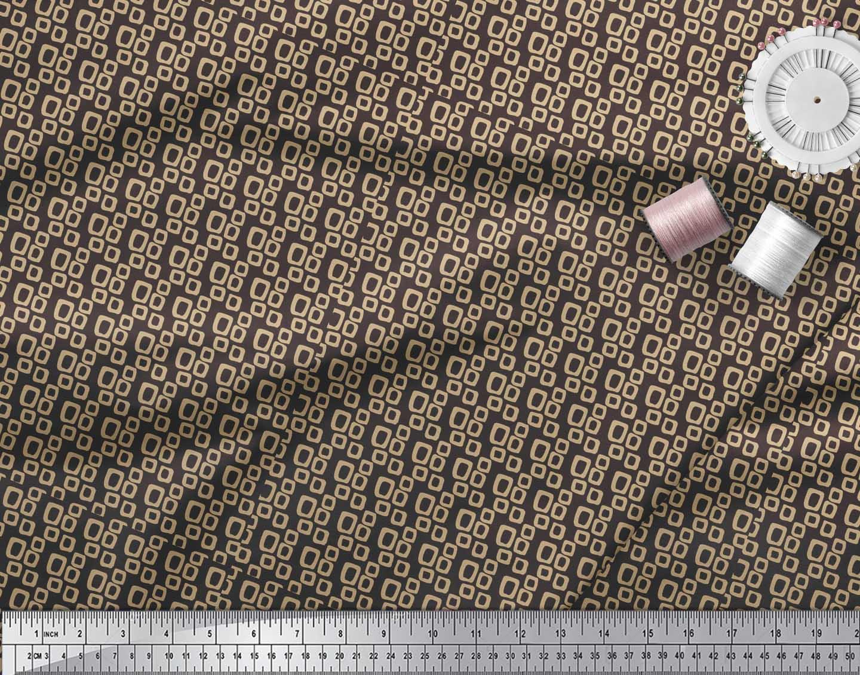 Soimoi-Brown-Cotton-Poplin-Fabric-Square-Geometric-Print-Fabric-MF6 thumbnail 4
