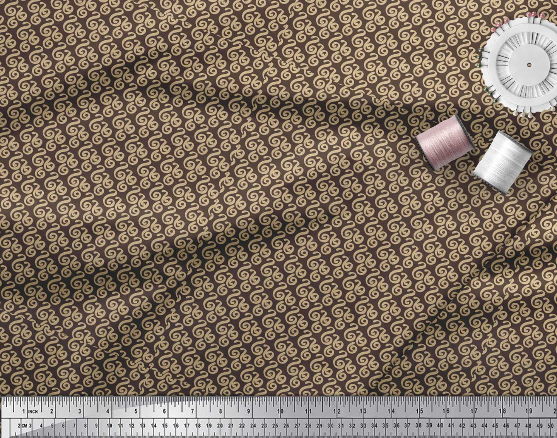 Soimoi-Brown-Cotton-Poplin-Fabric-Spiral-amp-Stripe-Geometric-Fabric-sjm thumbnail 3