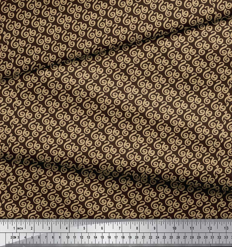 Soimoi-Brown-Cotton-Poplin-Fabric-Spiral-amp-Stripe-Geometric-Fabric-sjm thumbnail 4
