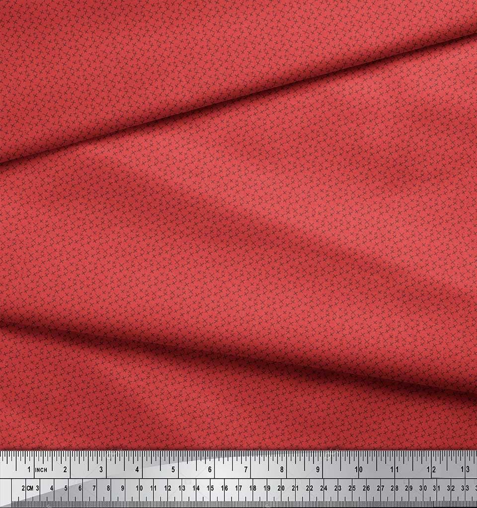 Soimoi-Orange-Cotton-Poplin-Fabric-Cross-amp-Geometric-Print-Fabric-Cd3 thumbnail 3