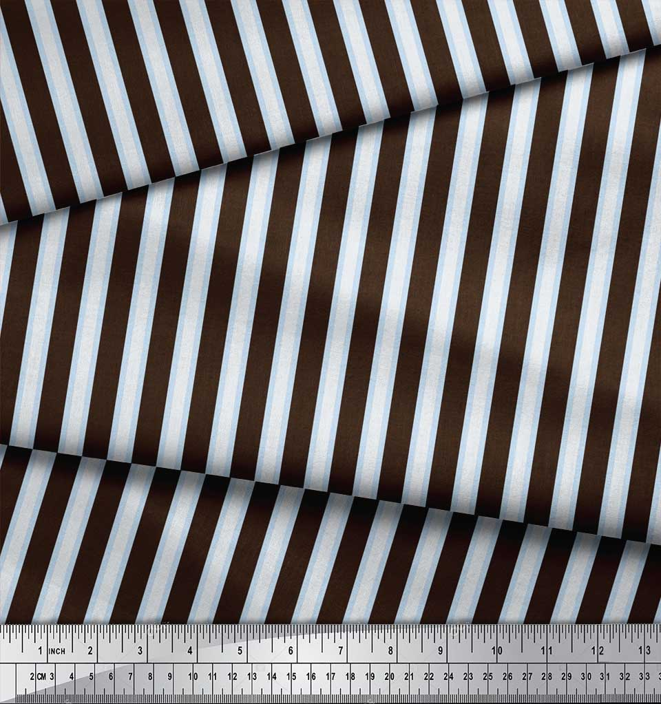 Soimoi-Brown-Cotton-Poplin-Fabric-Spiral-amp-Geometric-Print-Sewing-tlT thumbnail 3