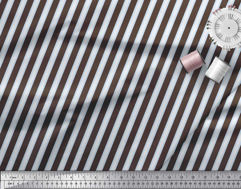 Soimoi-Brown-Cotton-Poplin-Fabric-Spiral-amp-Geometric-Print-Sewing-tlT thumbnail 4
