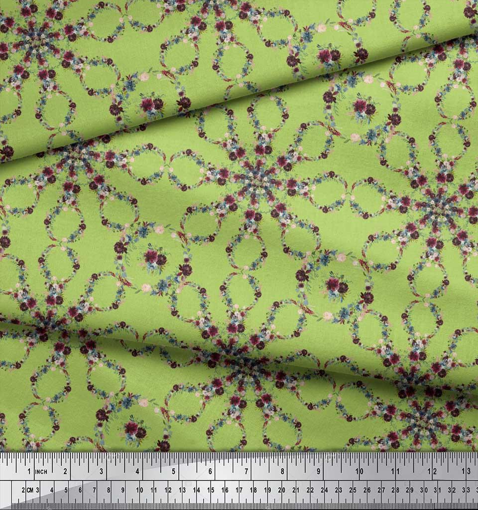 Soimoi-Green-Cotton-Poplin-Fabric-Floral-Wreath-Geometric-Print-cWa thumbnail 3