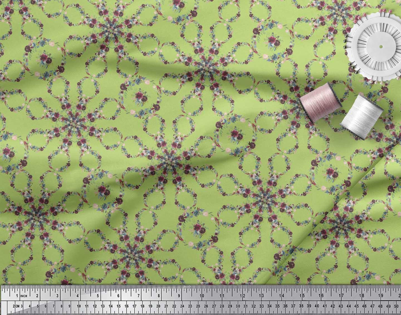 Soimoi-Green-Cotton-Poplin-Fabric-Floral-Wreath-Geometric-Print-cWa thumbnail 4