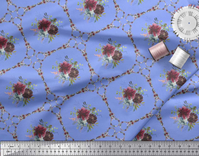 Soimoi-Blue-Cotton-Poplin-Fabric-Leaves-Floral-amp-Diamond-Geometric-Ltb thumbnail 3
