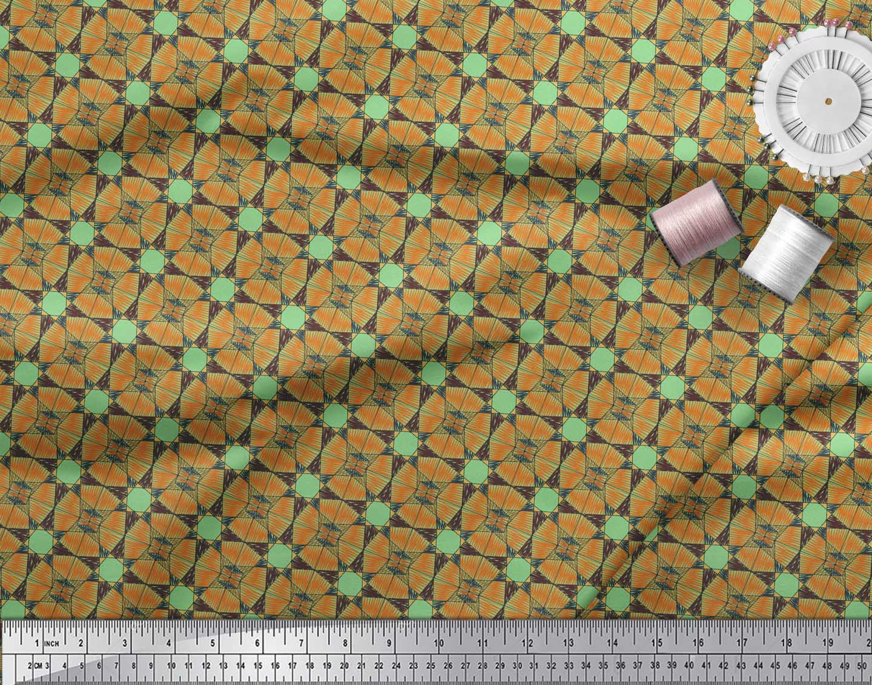 Soimoi-Green-Cotton-Poplin-Fabric-Geometrical-Star-Geometric-Fabric-pxS thumbnail 3