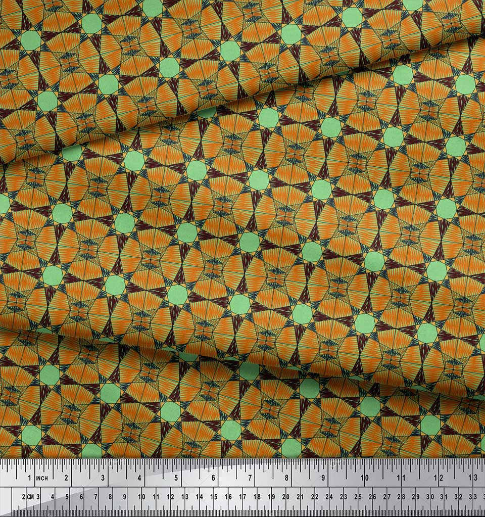 Soimoi-Green-Cotton-Poplin-Fabric-Geometrical-Star-Geometric-Fabric-pxS thumbnail 4