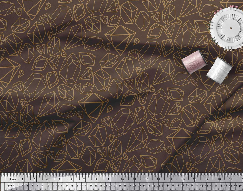 Soimoi-Brown-Cotton-Poplin-Fabric-Stone-amp-Diamond-Geometric-Printed-TBe thumbnail 3