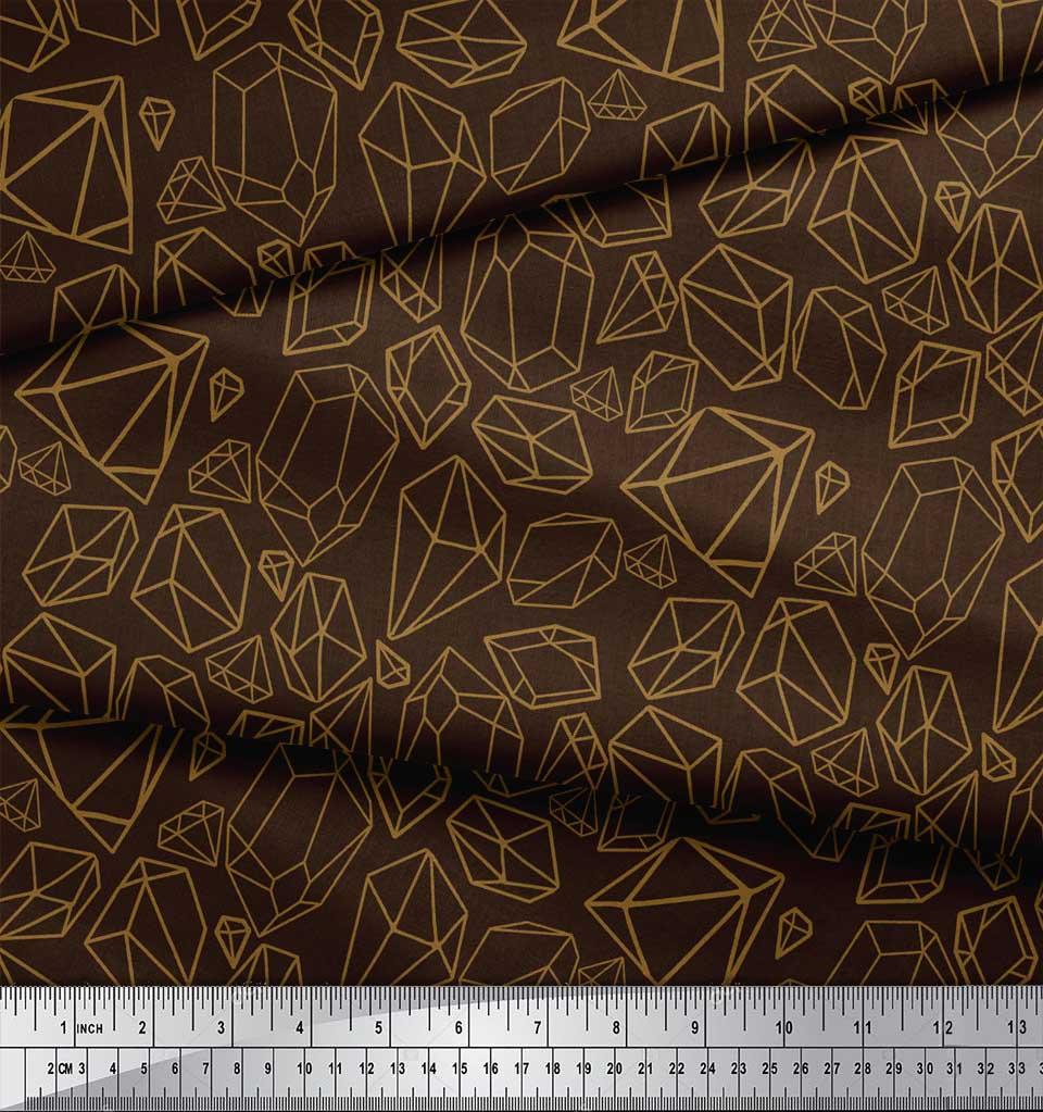 Soimoi-Brown-Cotton-Poplin-Fabric-Stone-amp-Diamond-Geometric-Printed-TBe thumbnail 4