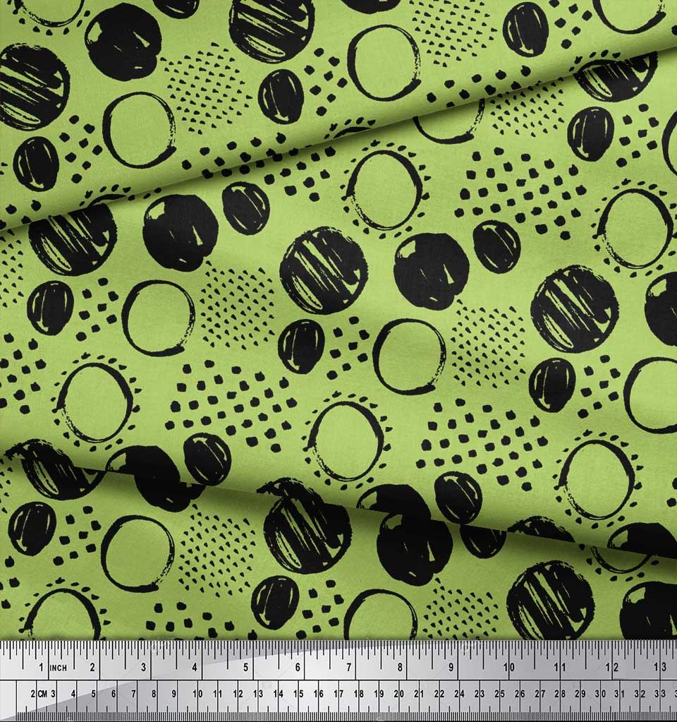 Soimoi-Green-Cotton-Poplin-Fabric-Dots-amp-Circle-Geometric-Print-cY8 thumbnail 4