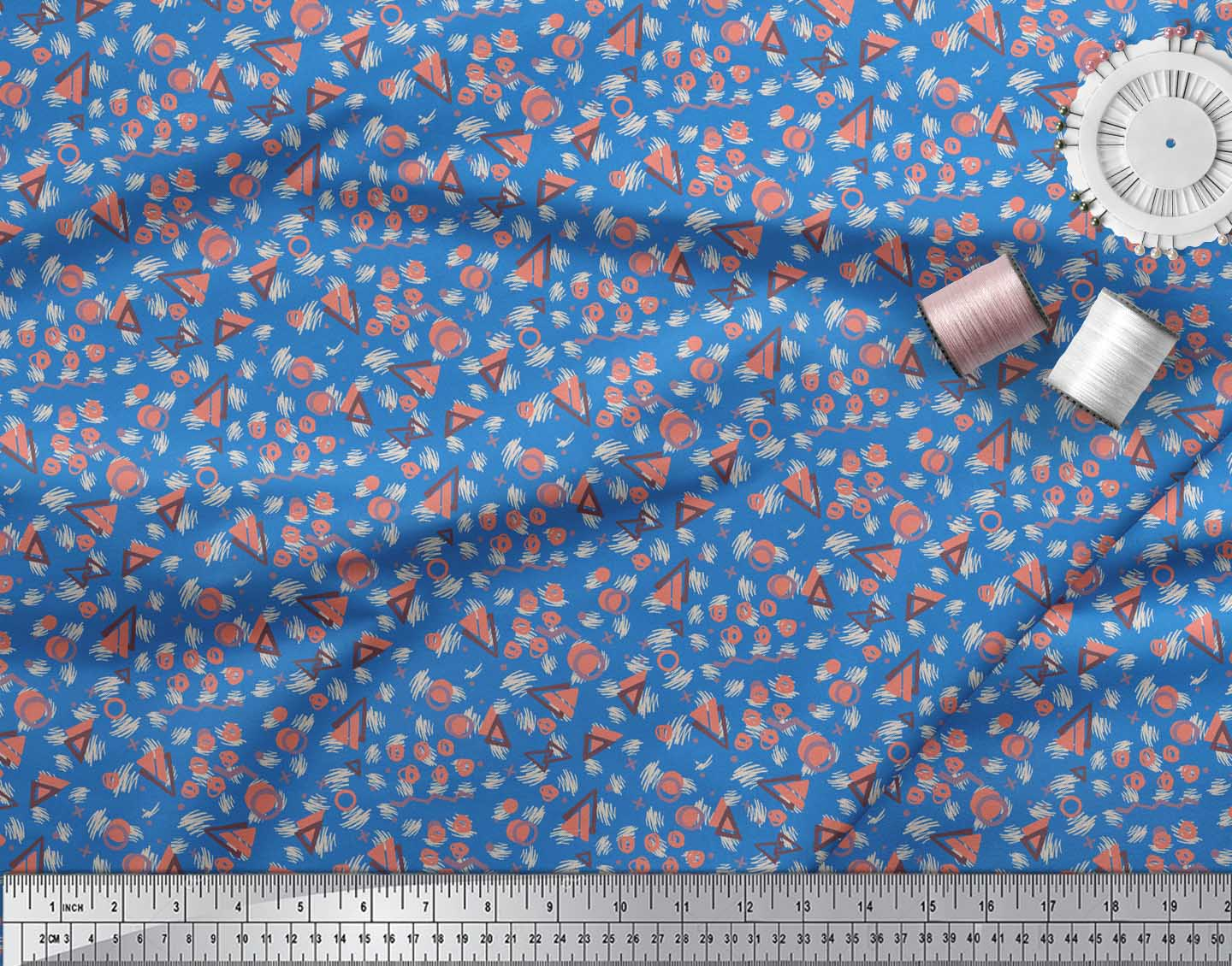 Soimoi-Blue-Cotton-Poplin-Fabric-Circle-amp-Triangle-Geometric-Print-Zqw thumbnail 4