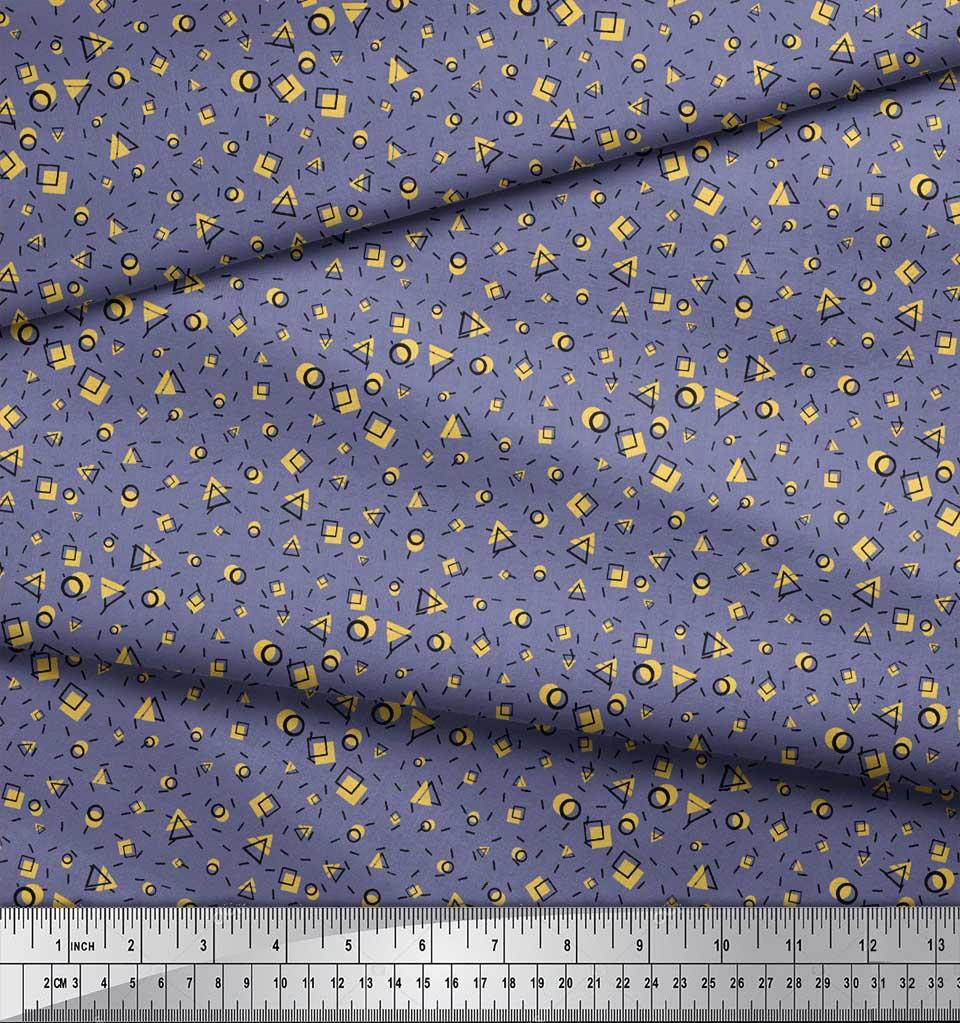 Soimoi-Purple-Cotton-Poplin-Fabric-Square-amp-Triangle-Geometric-Print-NI3 thumbnail 3