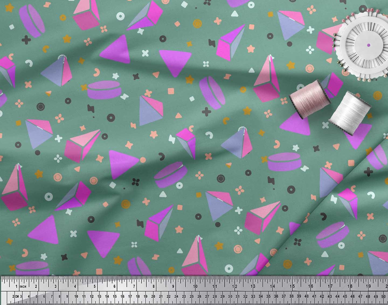 Soimoi-Green-Cotton-Poplin-Fabric-Pyramid-amp-Triangle-Geometric-Print-4Nb thumbnail 3