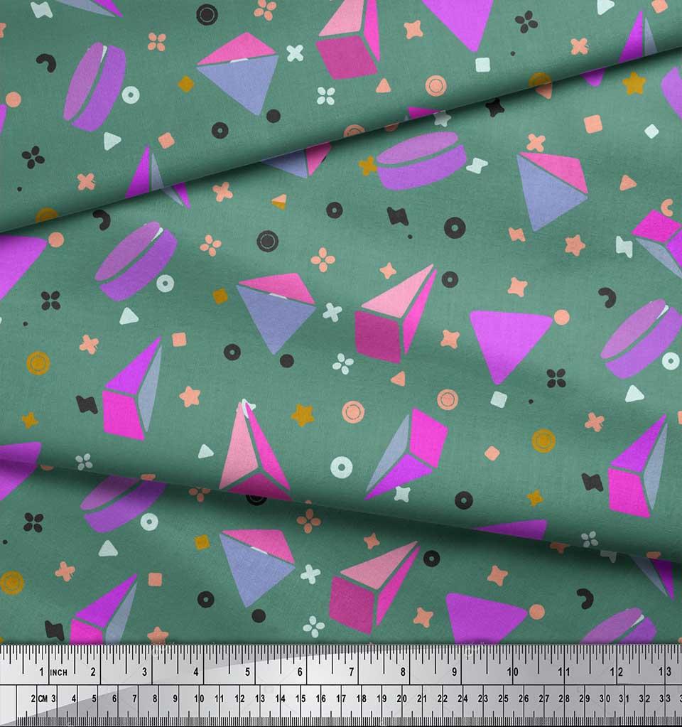 Soimoi-Green-Cotton-Poplin-Fabric-Pyramid-amp-Triangle-Geometric-Print-4Nb thumbnail 4