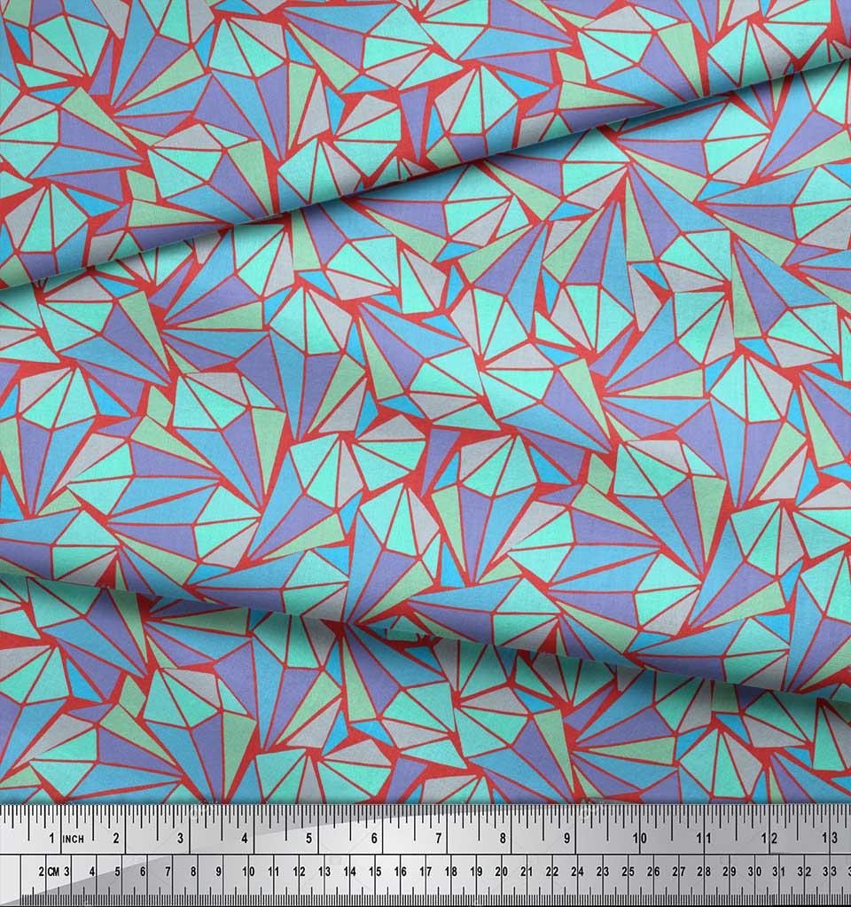 Soimoi-Orange-Cotton-Poplin-Fabric-Facets-Triangle-Geometric-Print-1Iv thumbnail 3