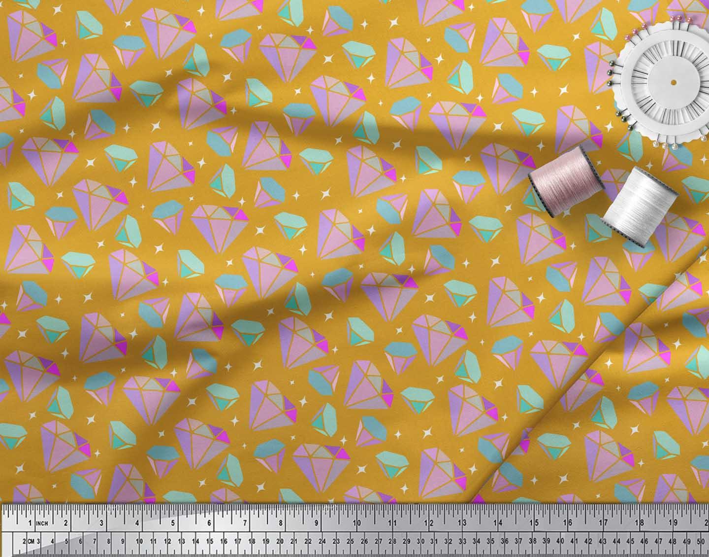Soimoi-Gold-Cotton-Poplin-Fabric-Star-amp-Diamond-Geometric-Print-39I thumbnail 3