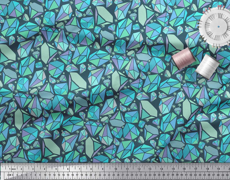 Soimoi-Blue-Cotton-Poplin-Fabric-Snowflakes-amp-Diamond-Geometric-5Zf thumbnail 3
