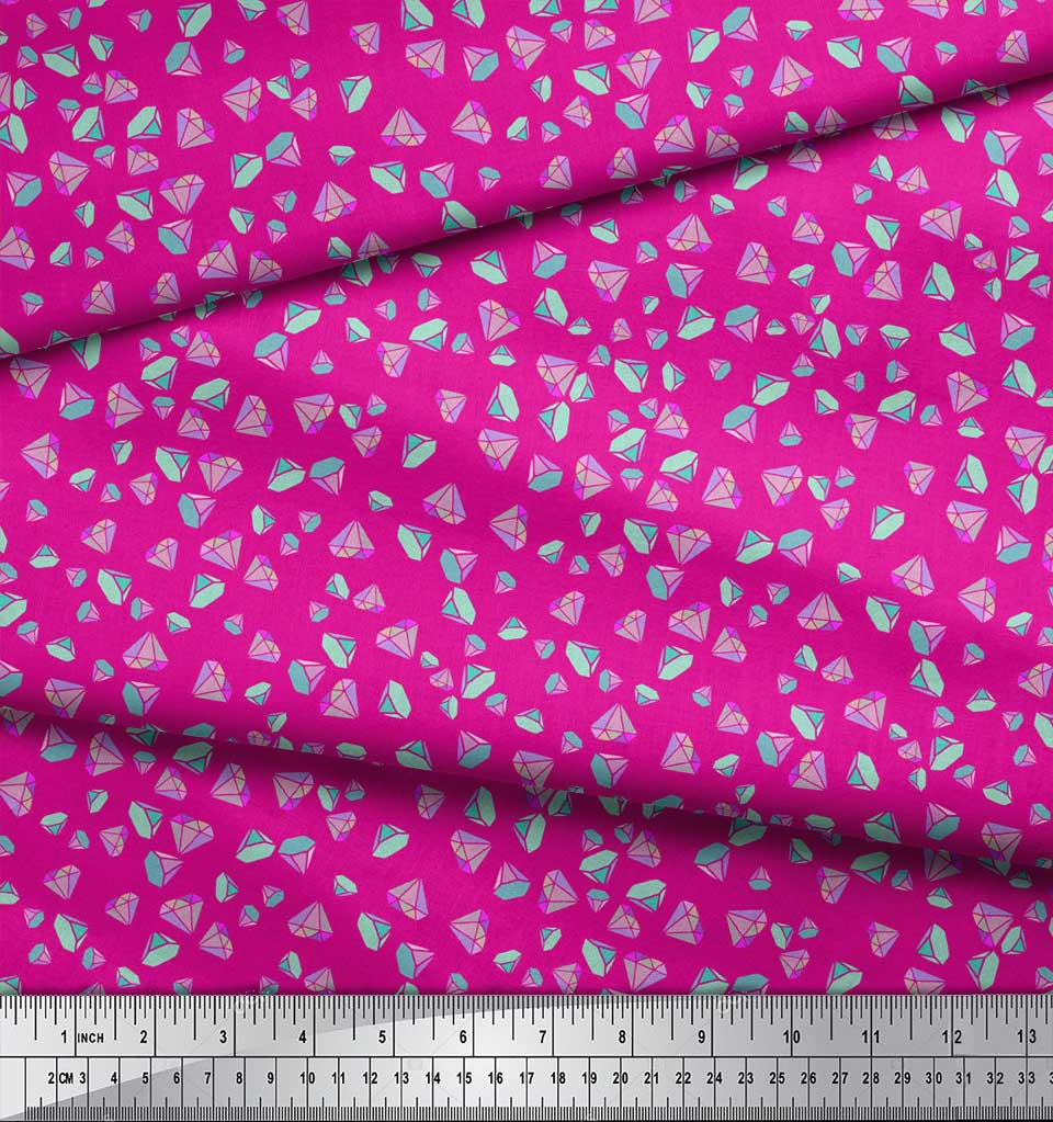 Soimoi-Pink-Cotton-Poplin-Fabric-Diamond-Geometric-Print-Fabric-cML thumbnail 3