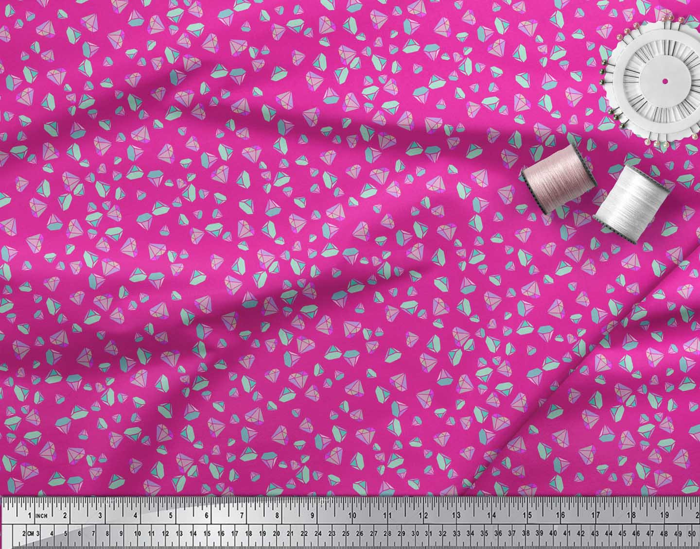 Soimoi-Pink-Cotton-Poplin-Fabric-Diamond-Geometric-Print-Fabric-cML thumbnail 4