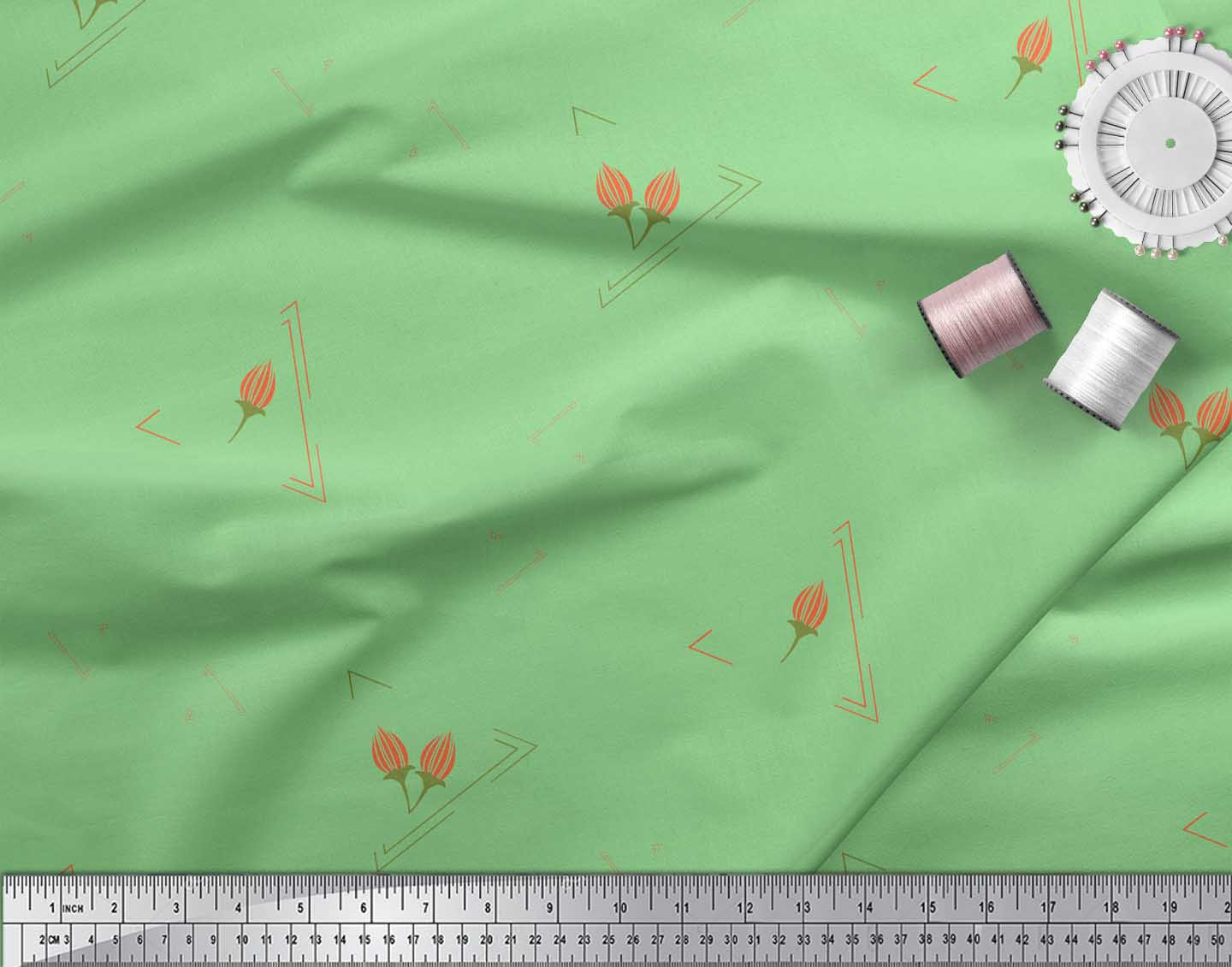 Soimoi-Green-Cotton-Poplin-Fabric-Flower-Buds-amp-Triangle-Geometric-hBE thumbnail 3