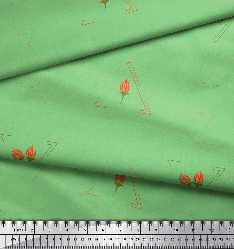 Soimoi-Green-Cotton-Poplin-Fabric-Flower-Buds-amp-Triangle-Geometric-hBE thumbnail 4