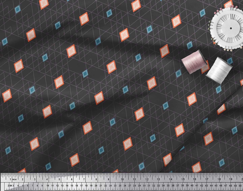 Soimoi-Black-Cotton-Poplin-Fabric-Diamond-Geometric-Print-Fabric-d0a thumbnail 3