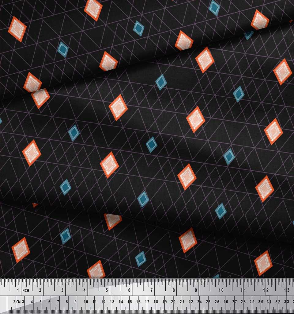 Soimoi-Black-Cotton-Poplin-Fabric-Diamond-Geometric-Print-Fabric-d0a thumbnail 4