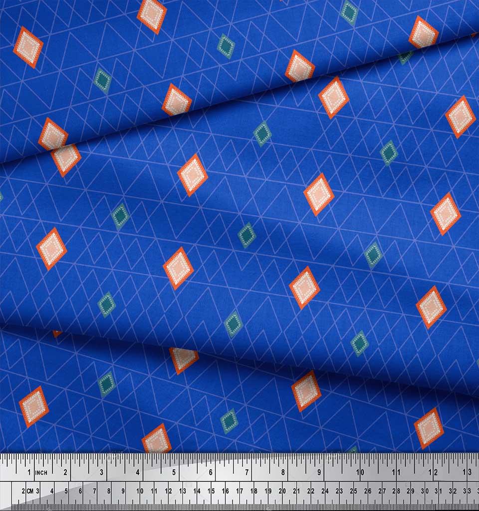 Soimoi-Blue-Cotton-Poplin-Fabric-Diamond-Geometric-Fabric-Prints-IVS thumbnail 3