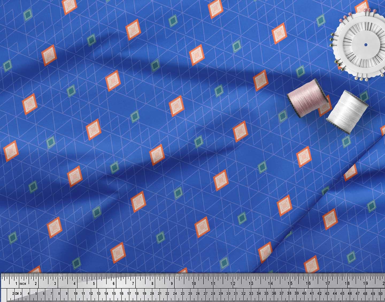 Soimoi-Blue-Cotton-Poplin-Fabric-Diamond-Geometric-Fabric-Prints-IVS thumbnail 4