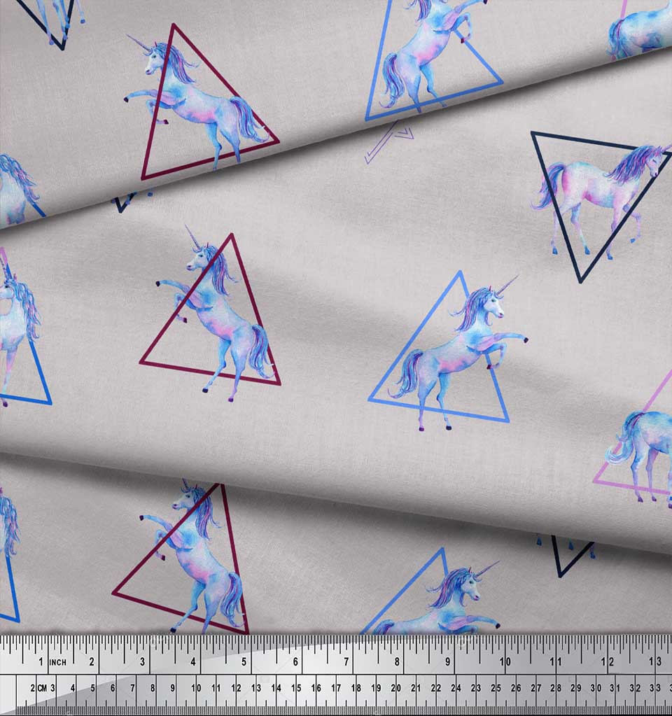 Soimoi-Gray-Cotton-Poplin-Fabric-Unicorn-amp-Triangle-Geometric-Print-w0a thumbnail 3