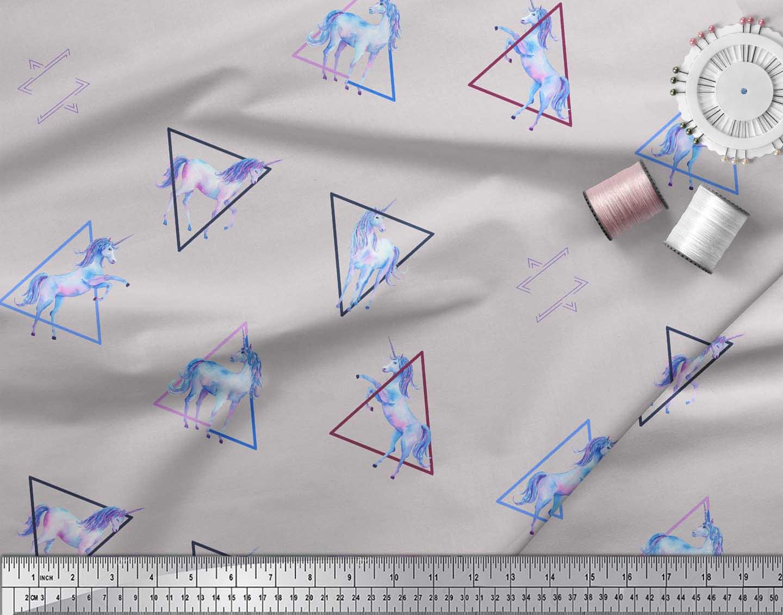 Soimoi-Gray-Cotton-Poplin-Fabric-Unicorn-amp-Triangle-Geometric-Print-w0a thumbnail 4