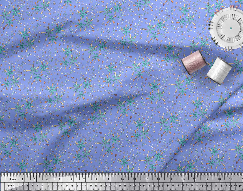 Soimoi-Blue-Cotton-Poplin-Fabric-Triangle-amp-Art-Geometric-Print-NyC thumbnail 3