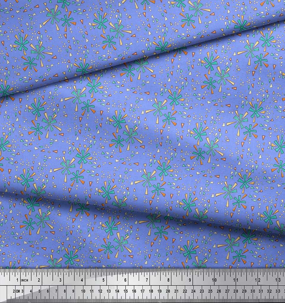 Soimoi-Blue-Cotton-Poplin-Fabric-Triangle-amp-Art-Geometric-Print-NyC thumbnail 4