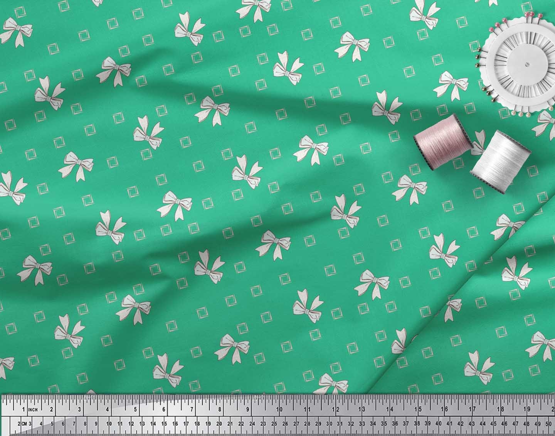 Soimoi-Green-Cotton-Poplin-Fabric-Bow-amp-Diamond-Geometric-Printed-2np thumbnail 3